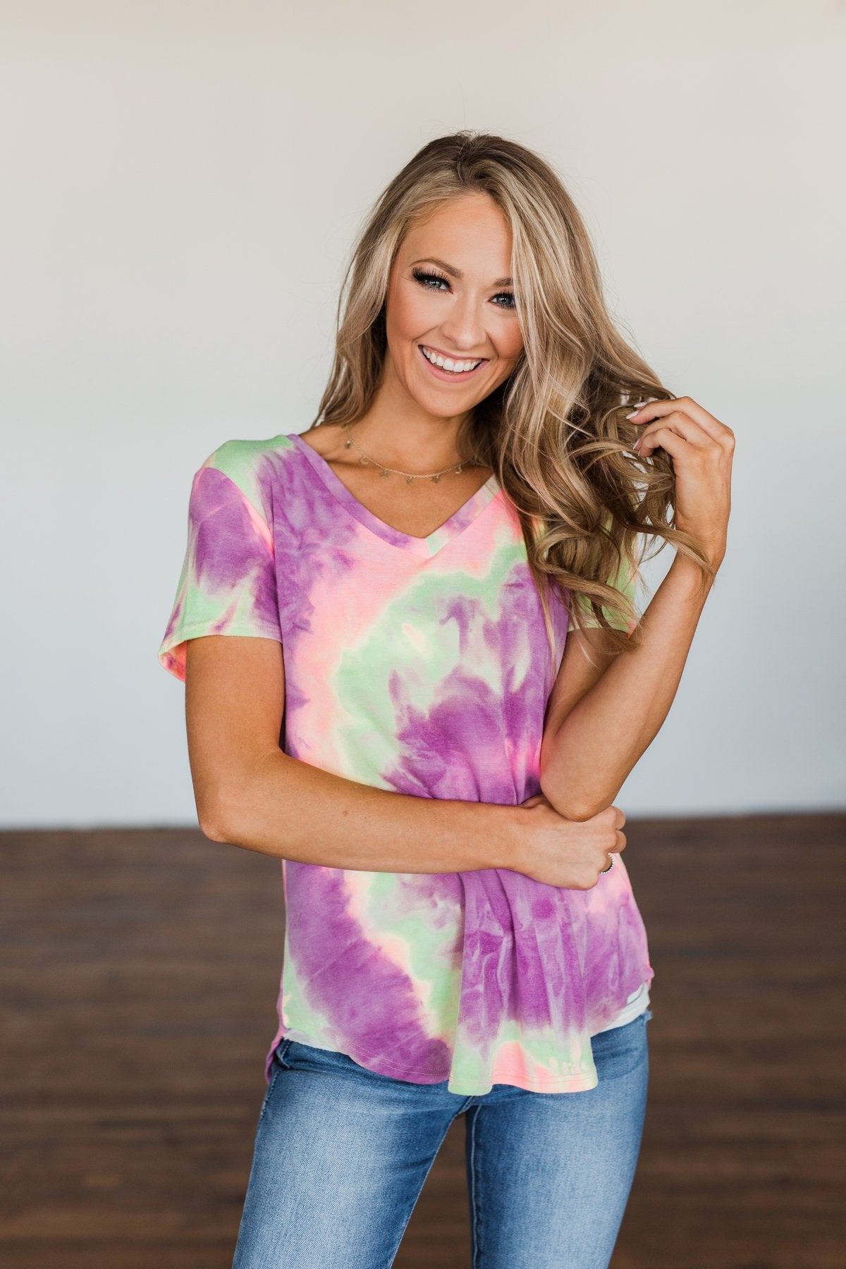 Draw Me Closer Tie Dye V-Neck Top- Pink, Lime, Purple