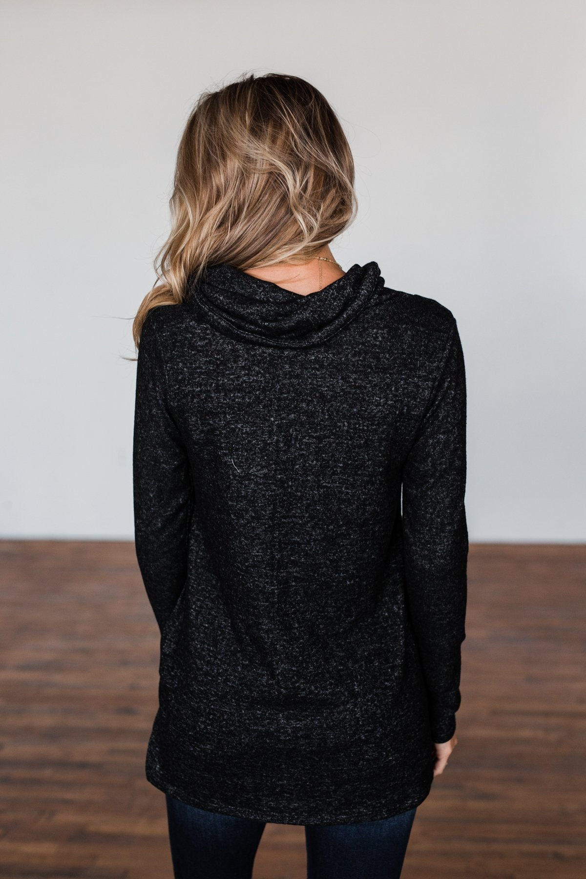 Written In The Stars Cowl Neck Top- Black