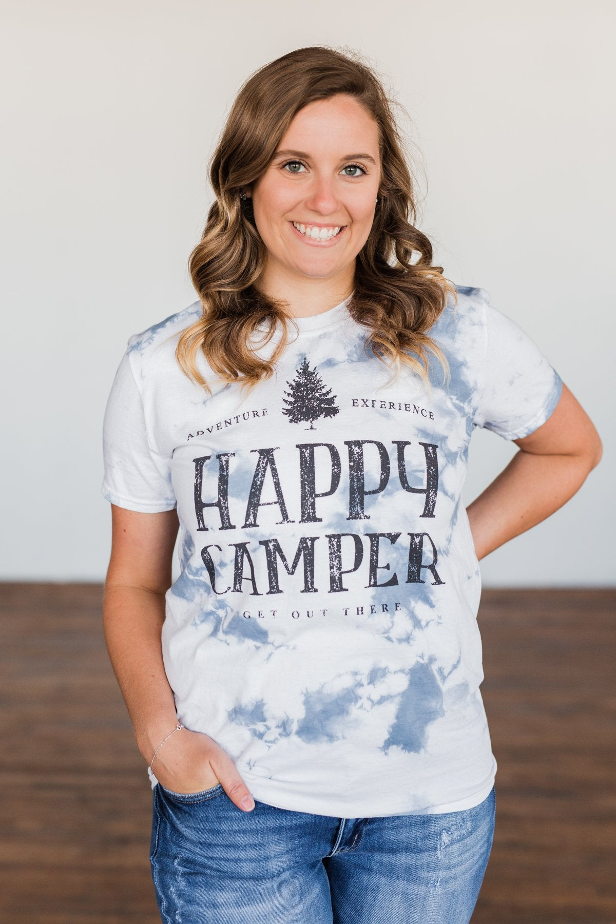 """Happy Camper"" Tie Dye Graphic Tee- Navy & Ivory"