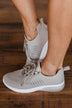 Qupid Tank Sneakers- Taupe Knit