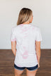 """Happy Camper"" Tie Dye Graphic Tee- Pink & Ivory"