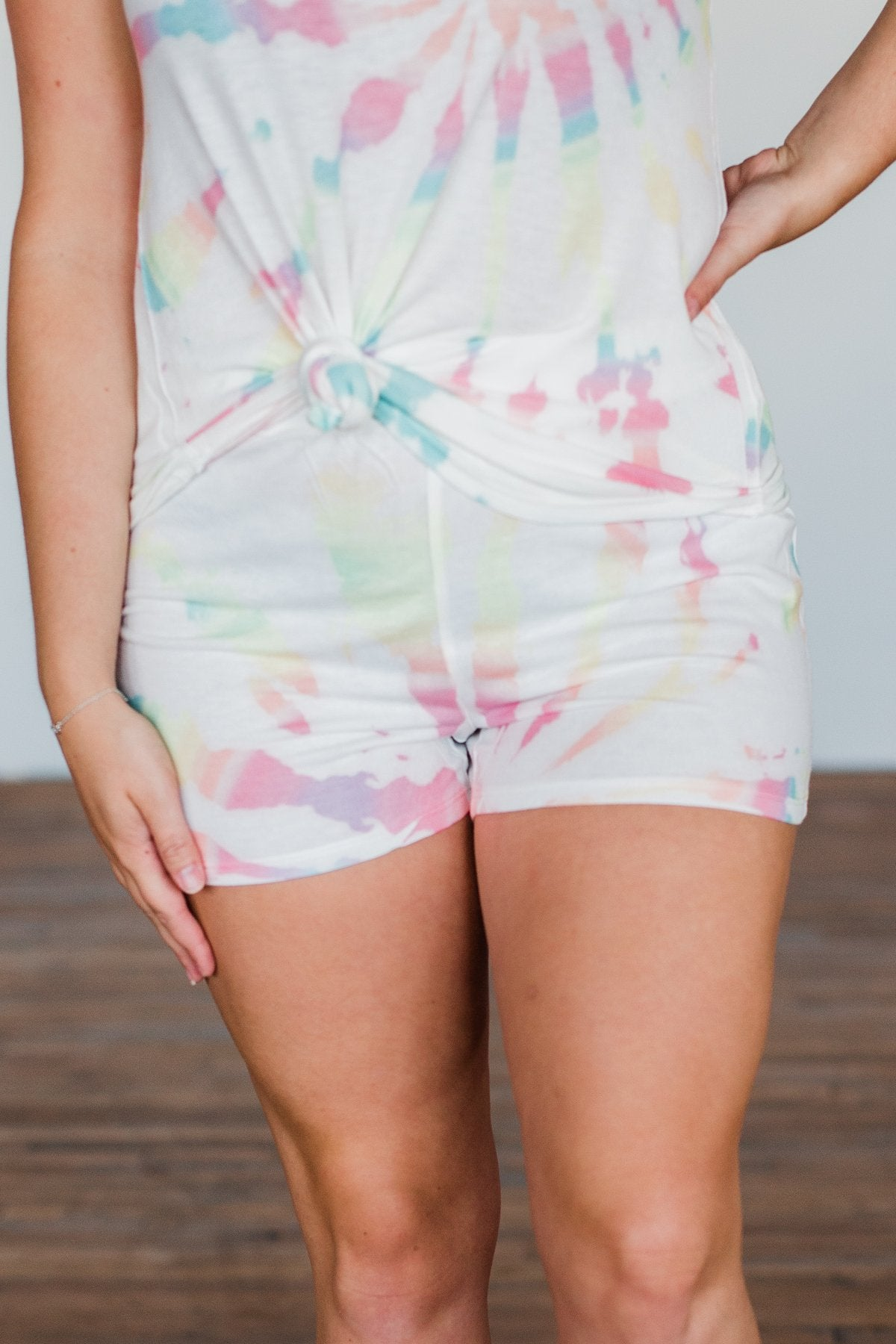 Tie Dye Lounge Shorts- Ivory & Multi-Color