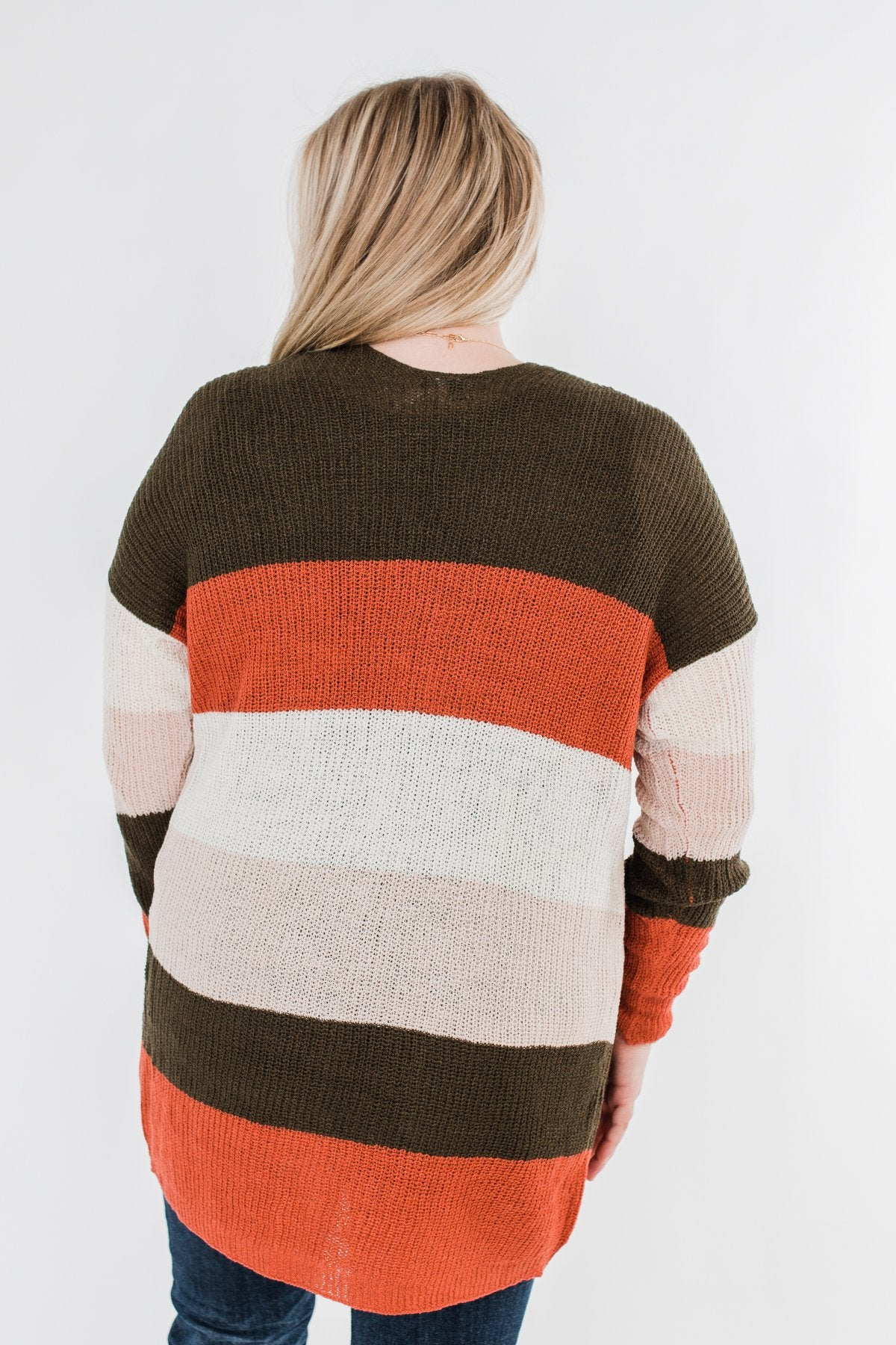 Long Knitted Color Block Cardigan- Forest Tones