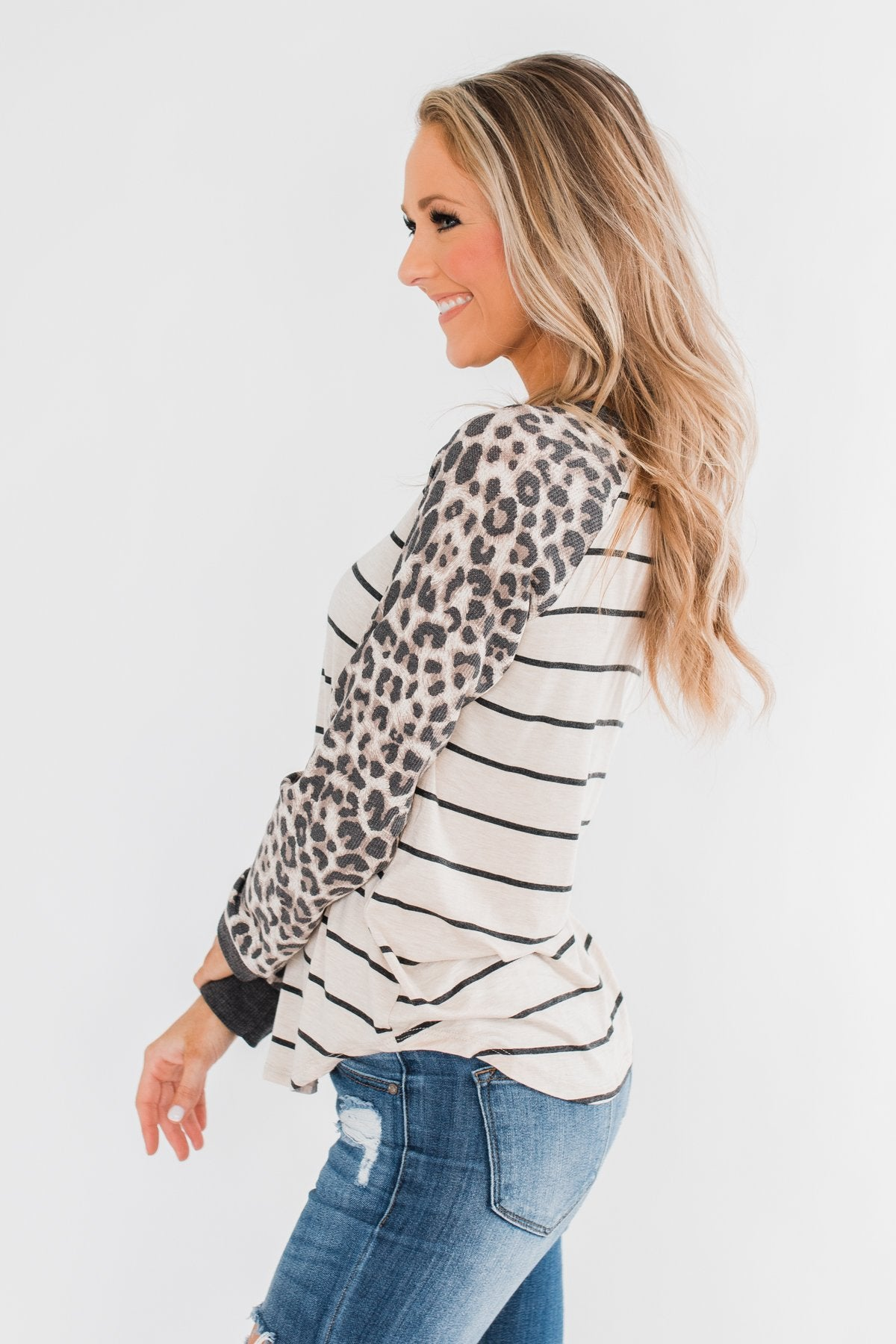 Oh So Fierce Long Sleeve Top- Charcoal & Leopard