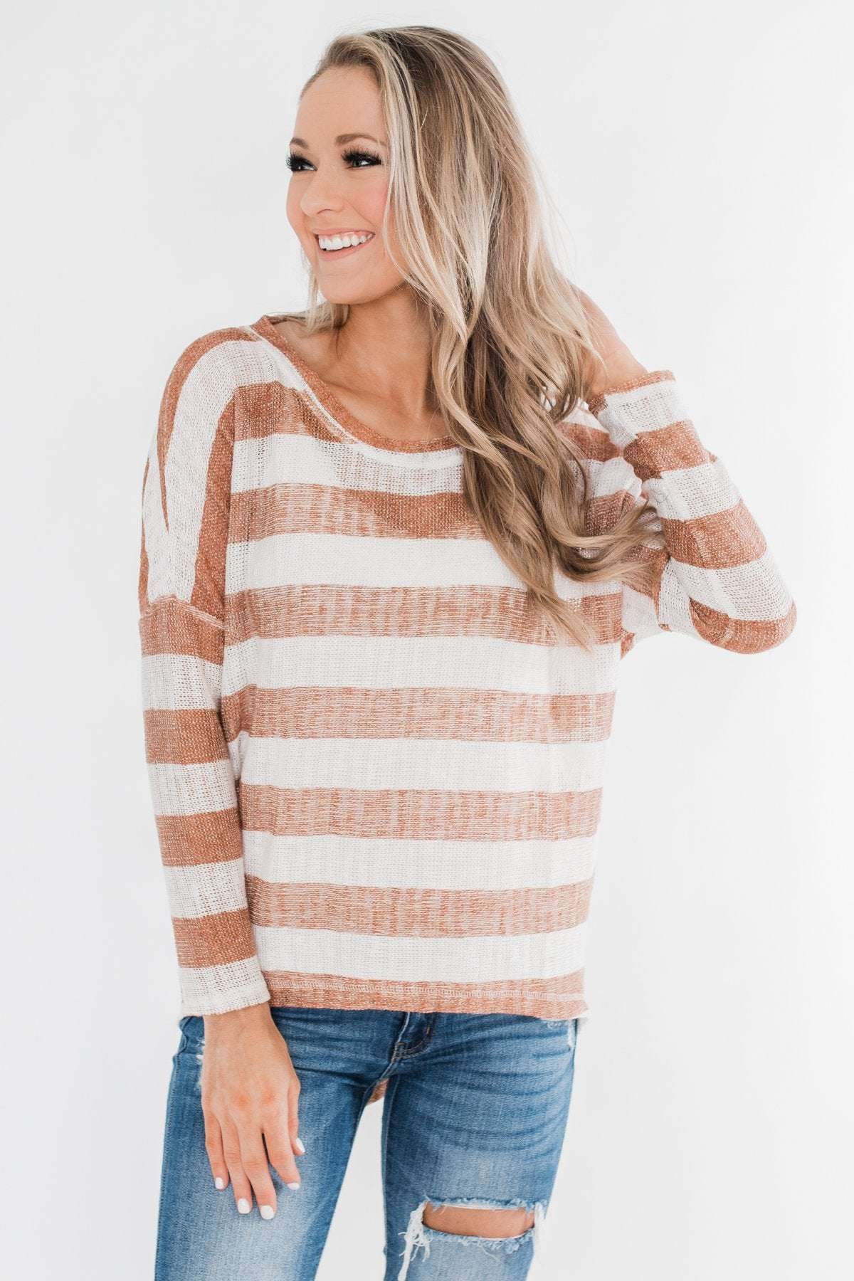 The Right Direction Striped Knitted Top- Light Rust