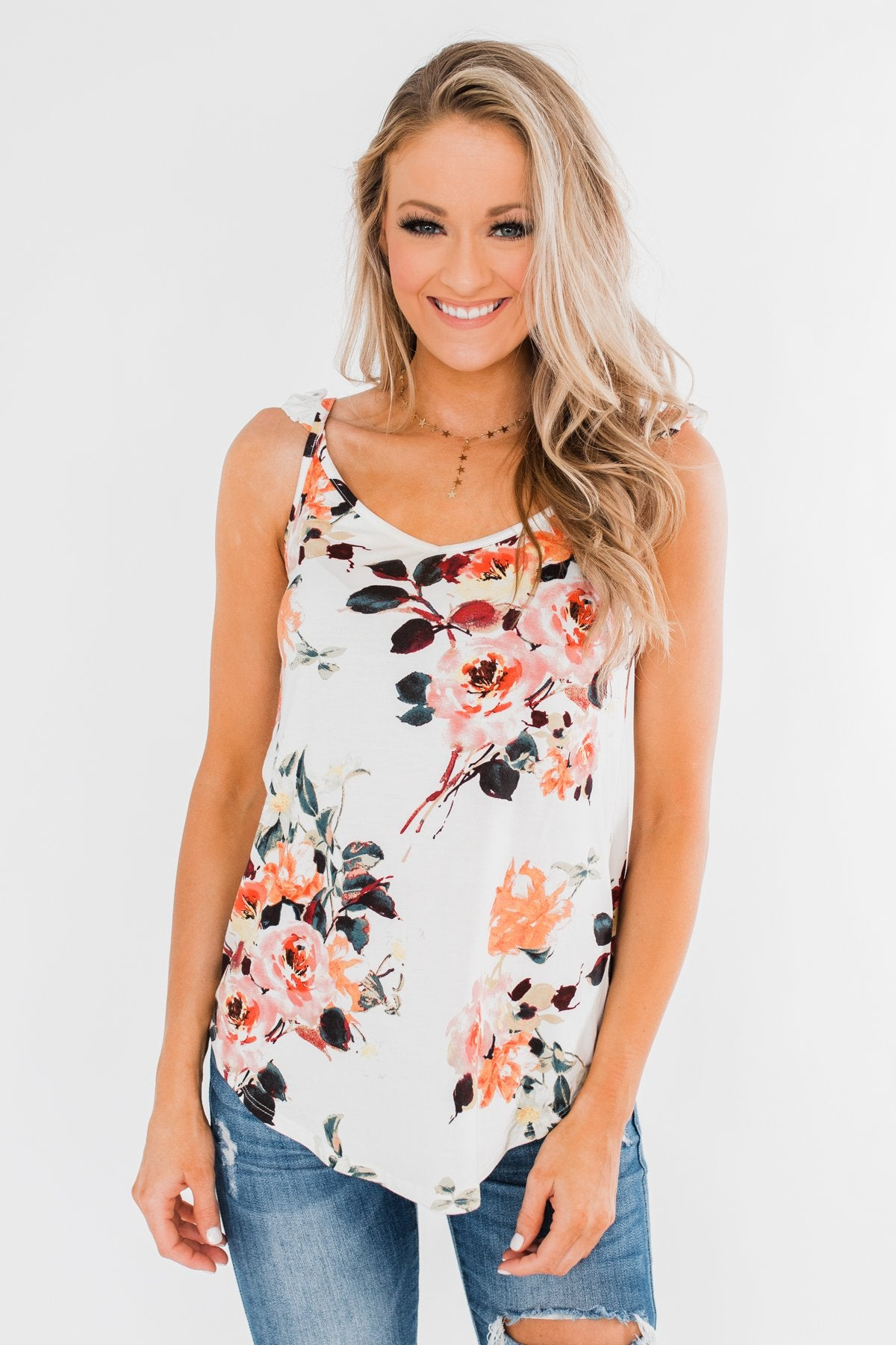 Turn & Smile Floral Tank Top- Ivory