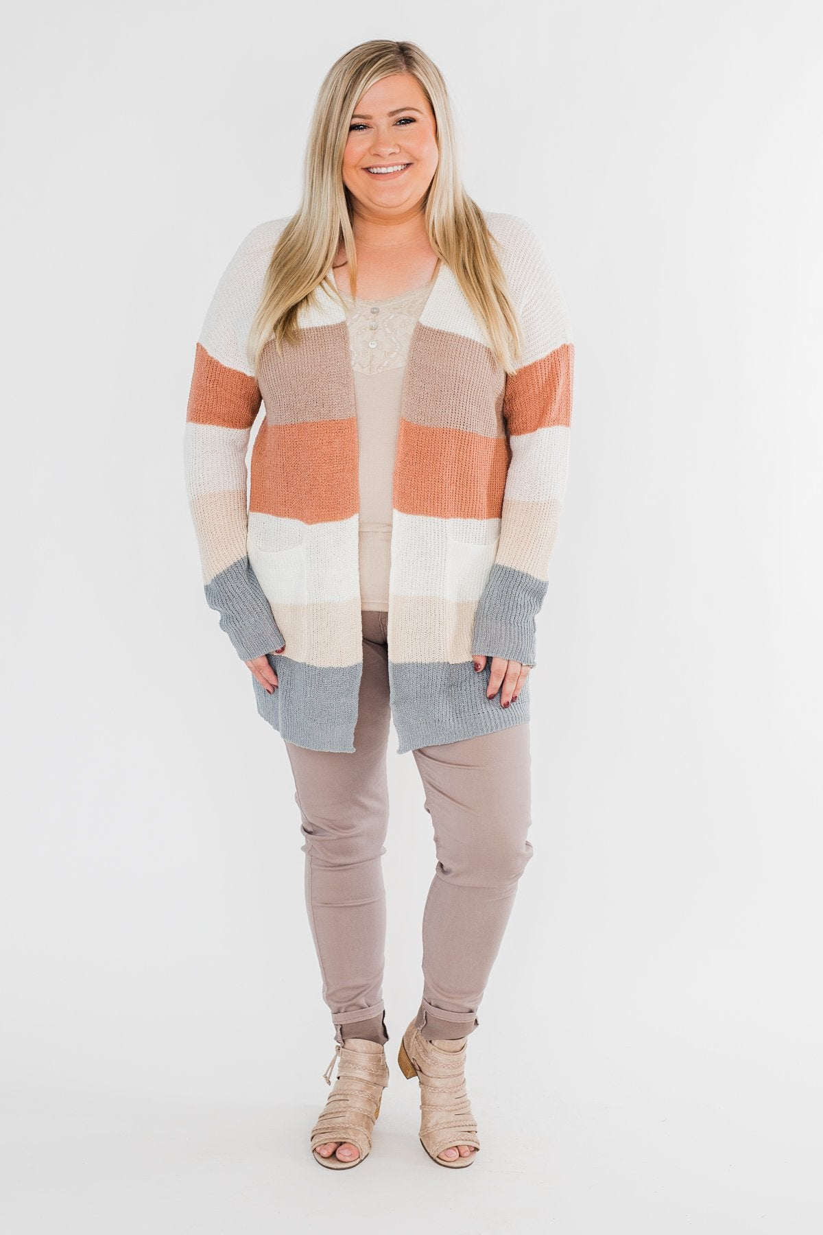 Long Knitted Color Block Cardigan- Neutral Tones