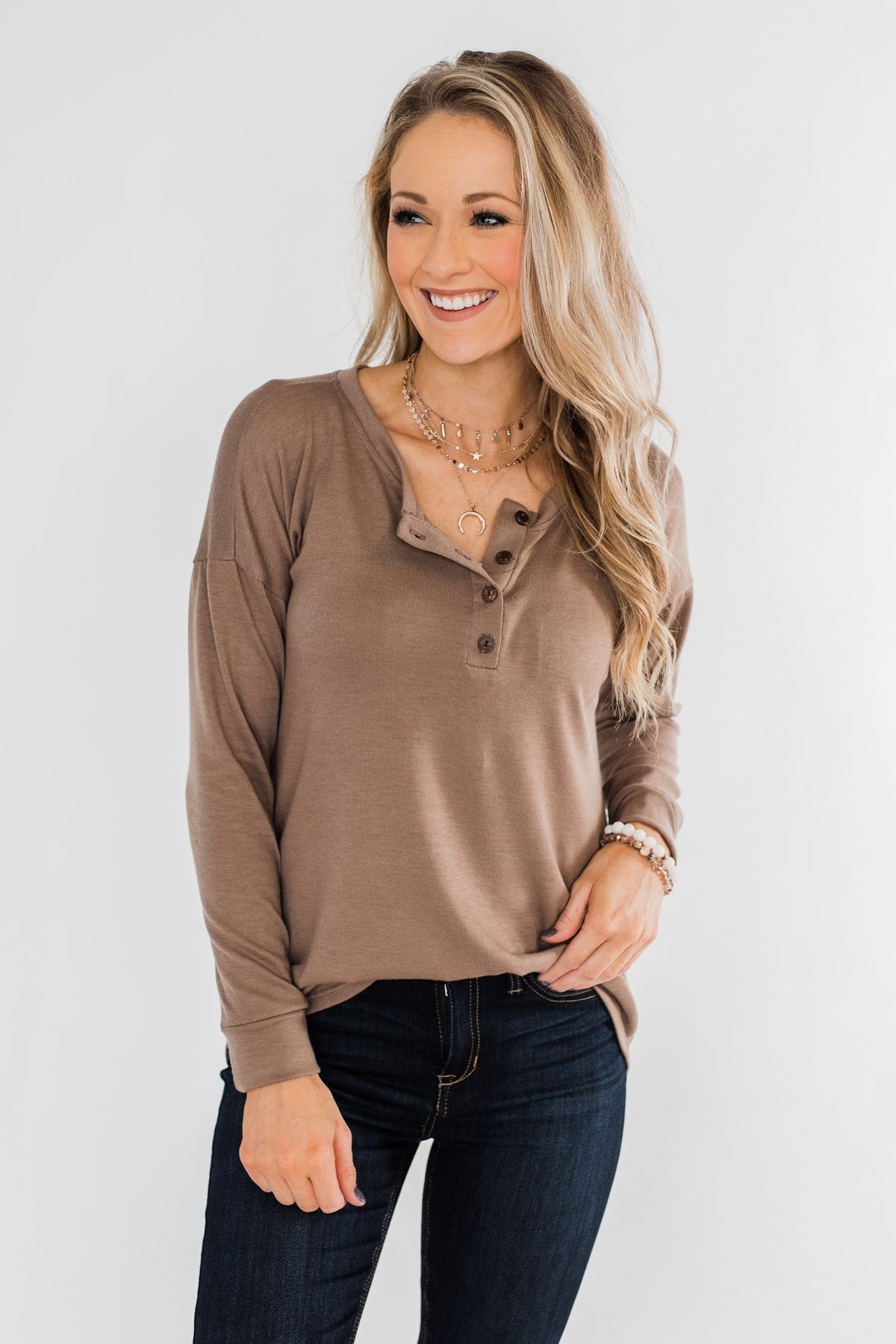 Cozy & Warm 4 Button Henley Top- Light Brown
