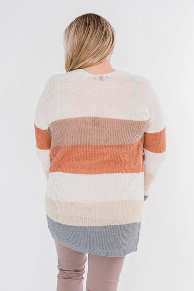 Knitted Color Block Cardigan- Neutral Tones