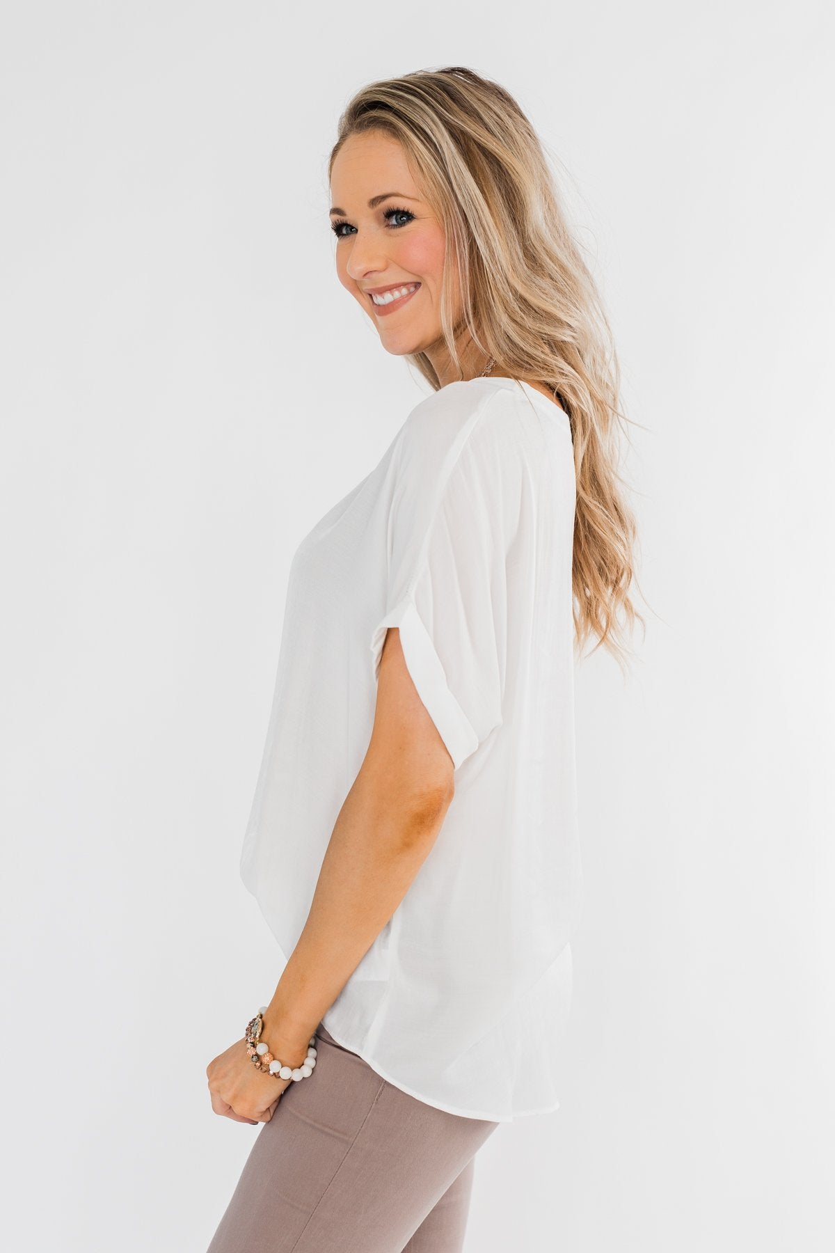 Basic Beauty V-Neck Short Sleeve Top- Ivory