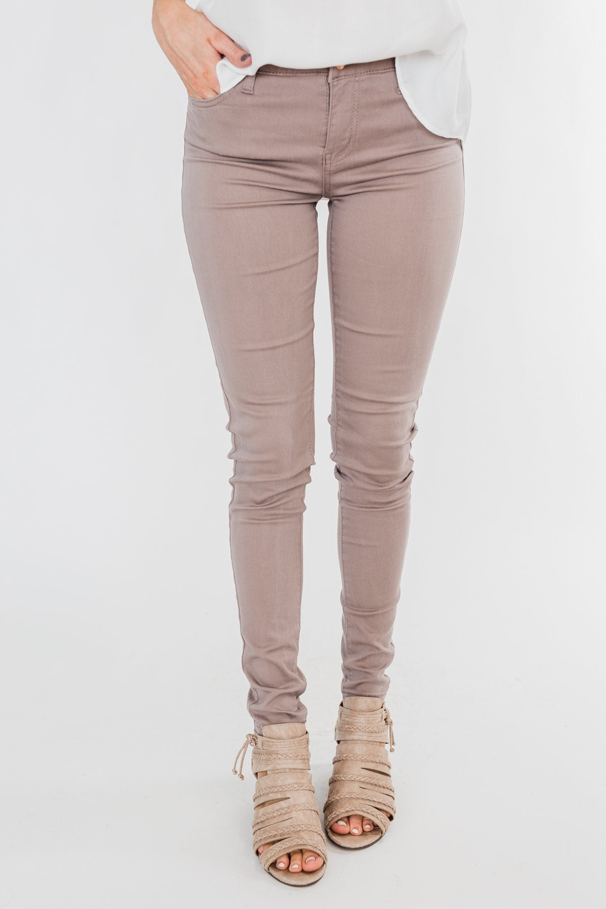 Celebrity Pink Skinny Jeans- Taupe
