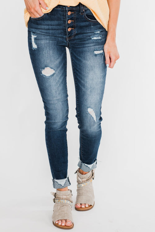 C'est Toi Distressed Button Fly Skinnies- Emily Wash