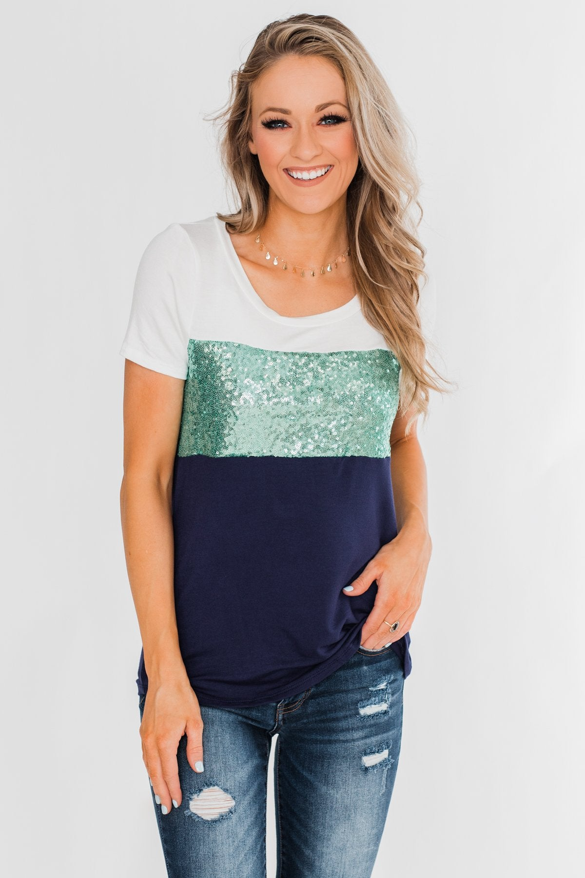 Part Of Your World Sequin Top- Teal Green & Navy