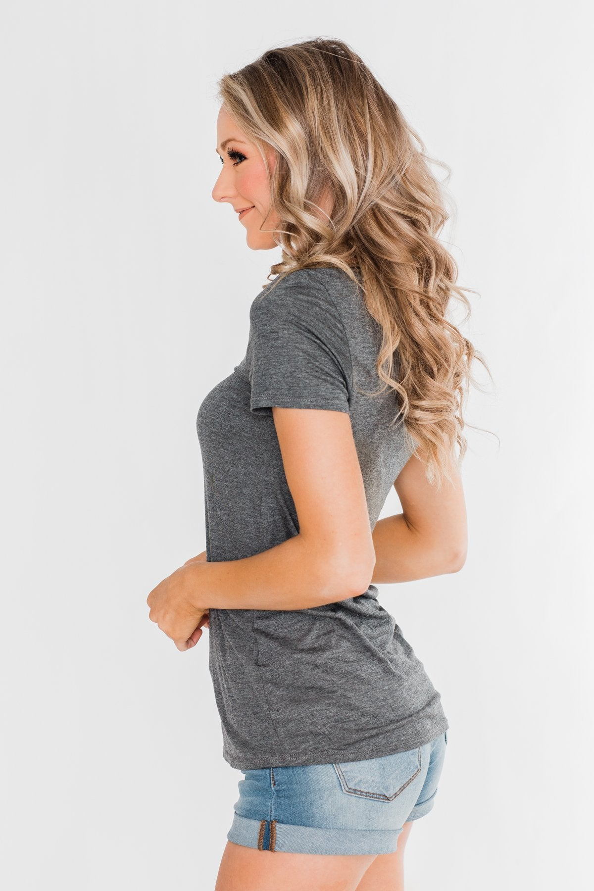 Meet Me Here Short Sleeve Top - Light Charcoal