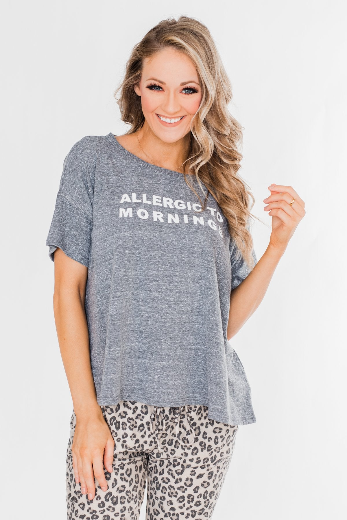 """Allergic To Mornings"" Graphic Tee-Gray"