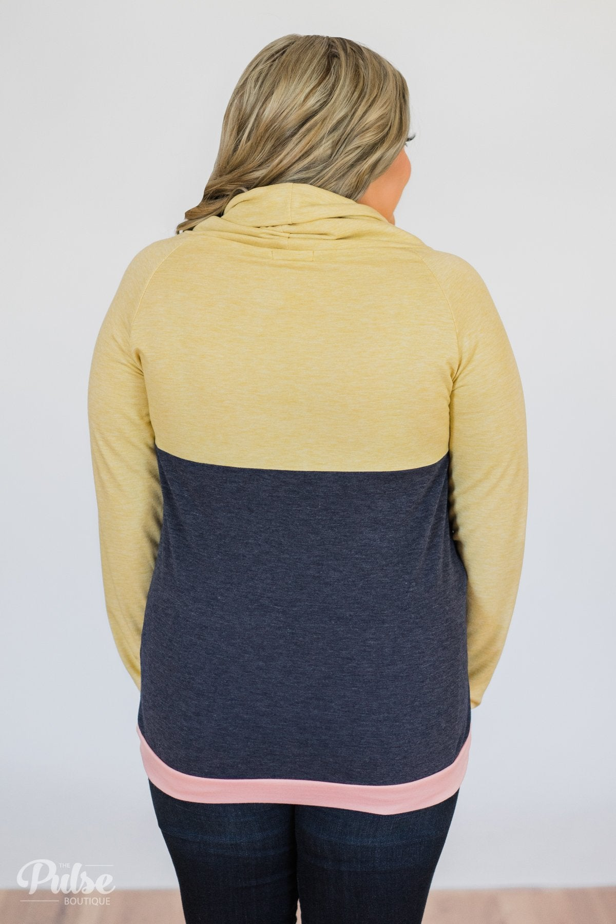 Color Block Cowl Neck- Yellow & Navy