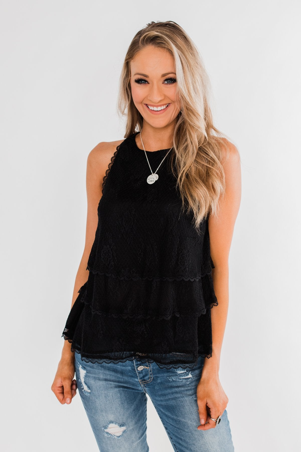 Captivating In Lace Ruffle Tank Top- Black