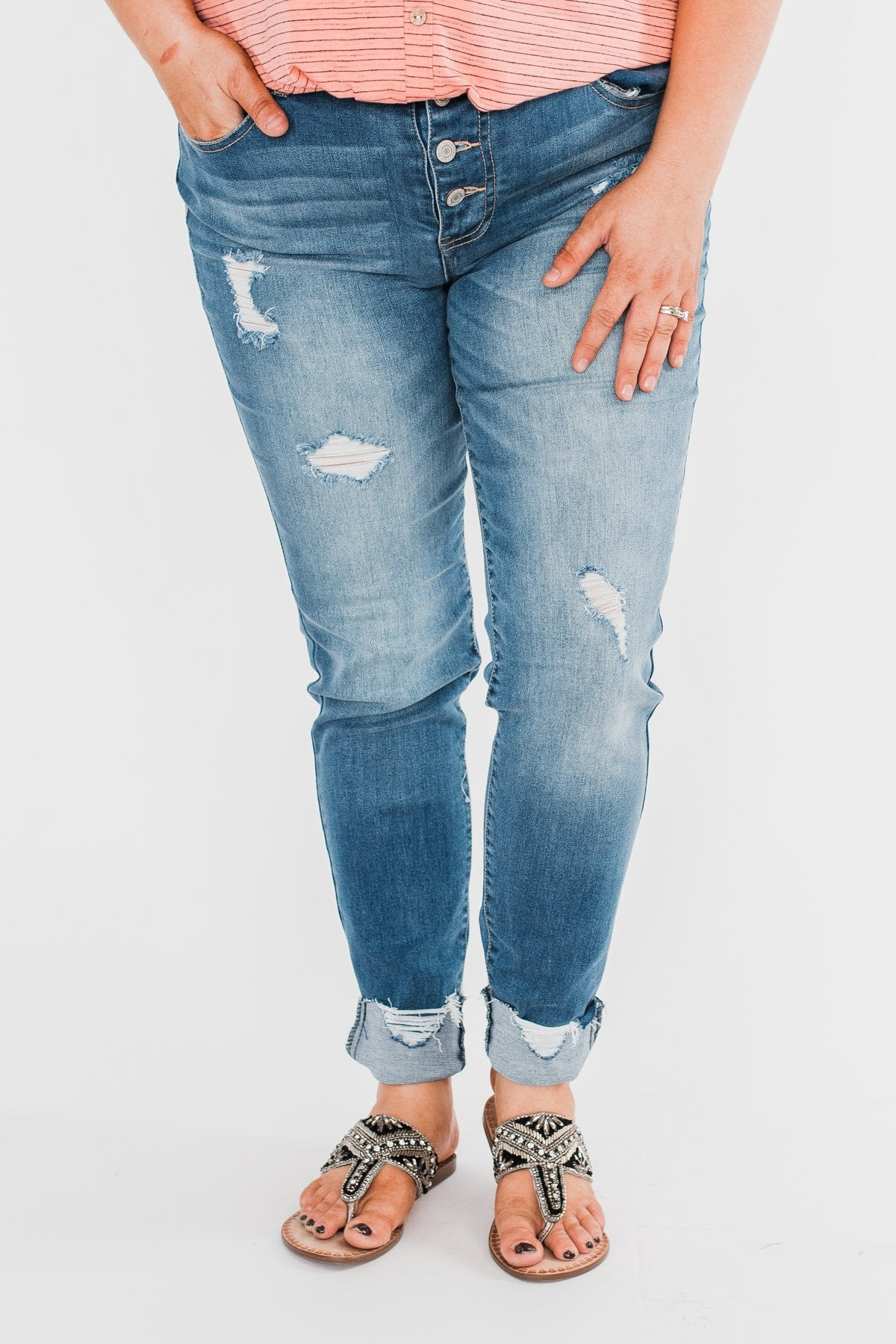 C'est Toi Distressed Button Fly Skinnies- Medium Emily Wash
