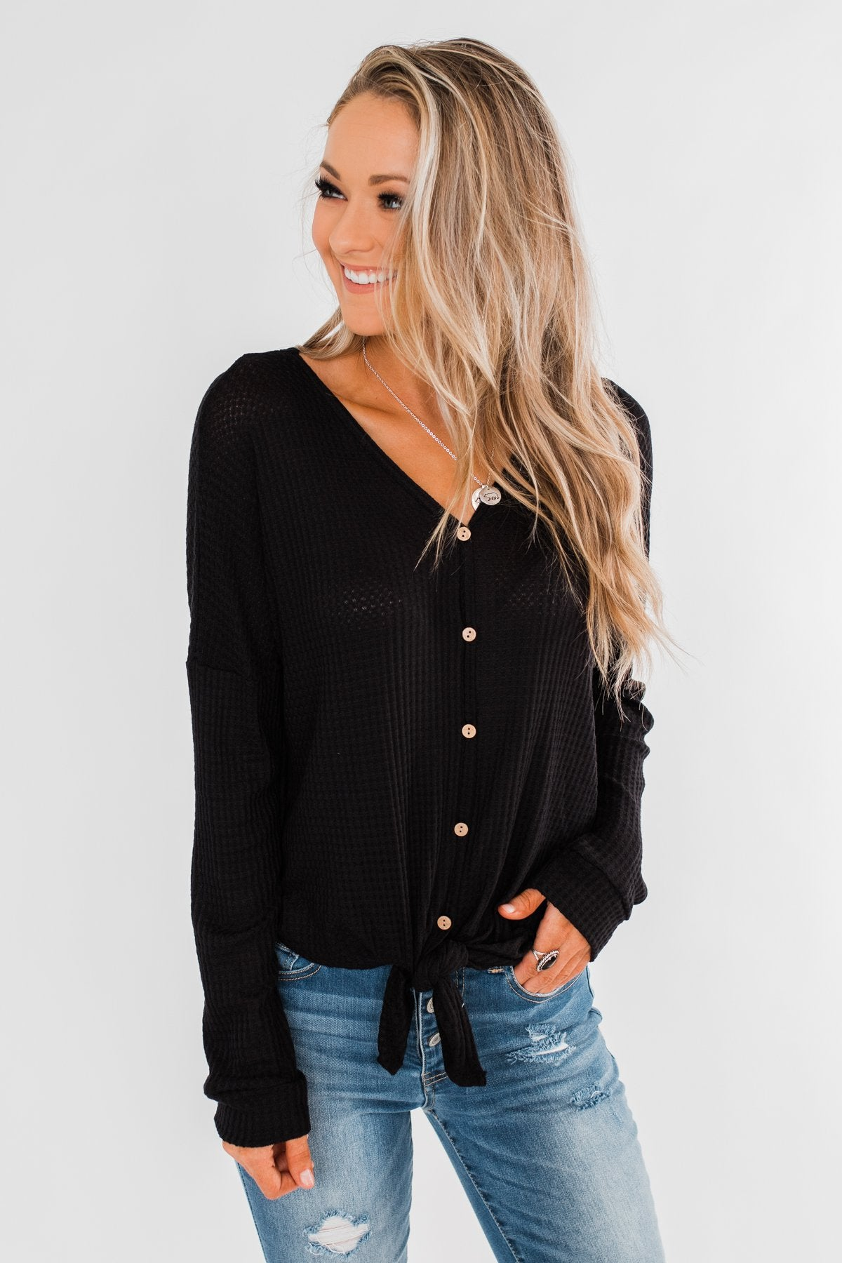 Thermal Button Knot Top- Black