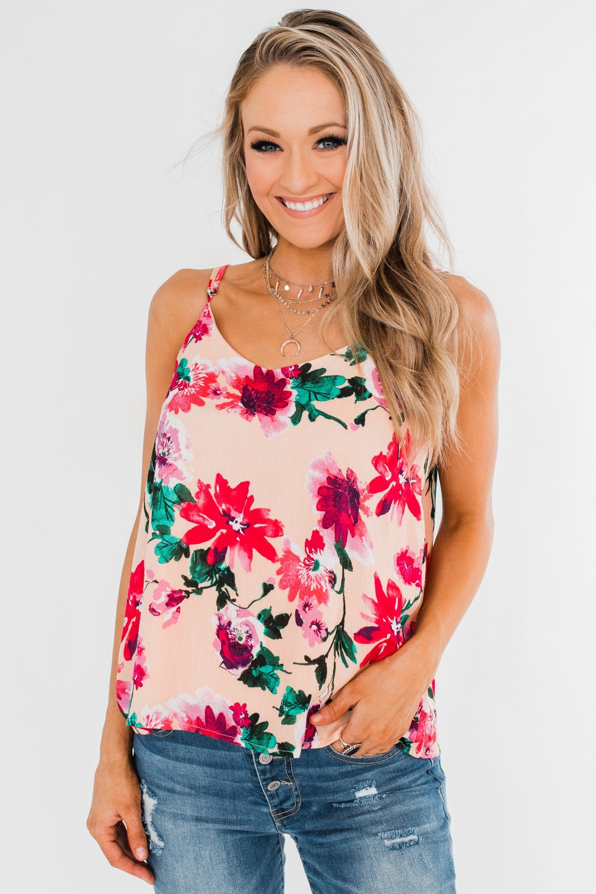 Always A Good Time Floral Tank Top- Peach