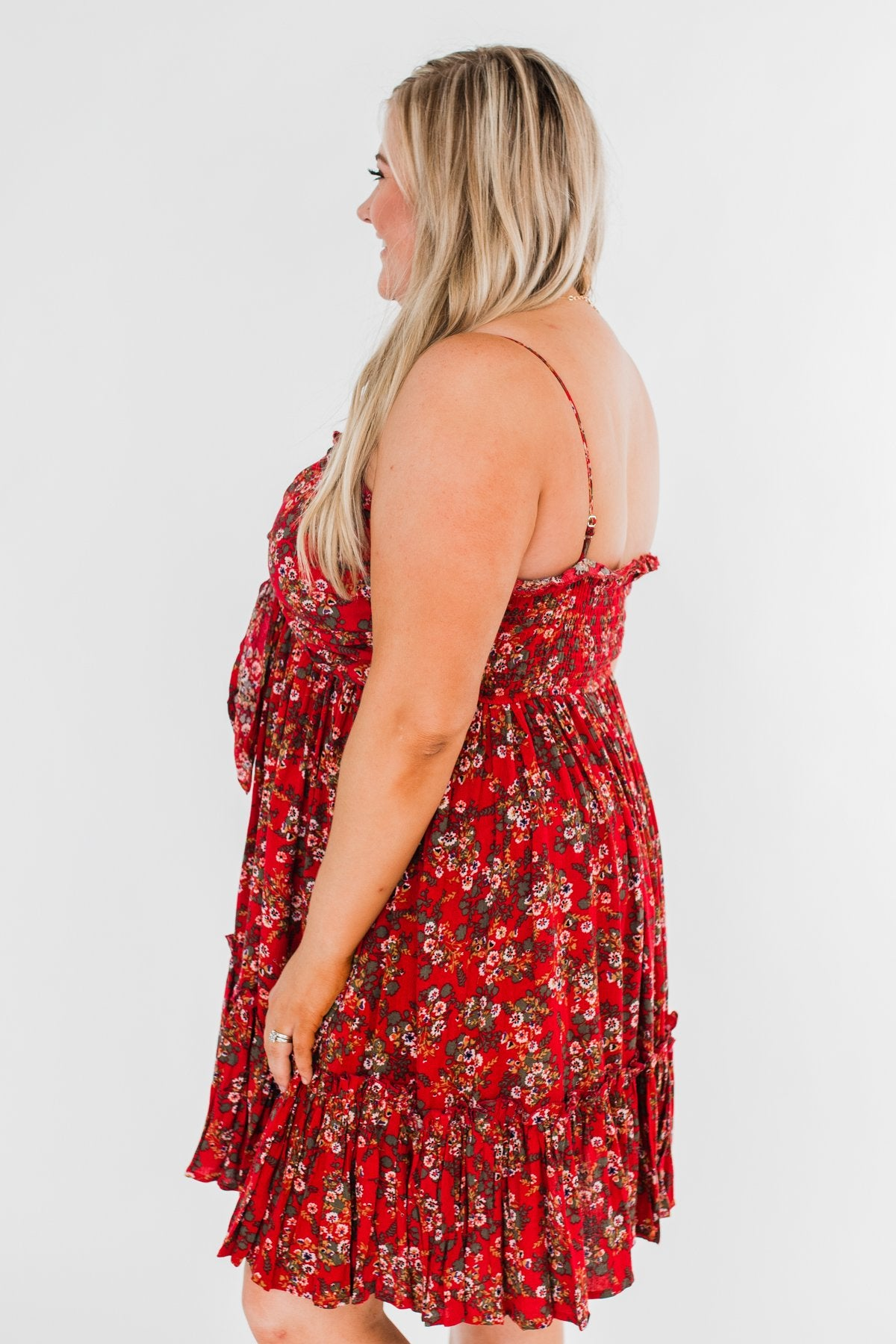 Saying Goodbye Floral Tie Dress- Red