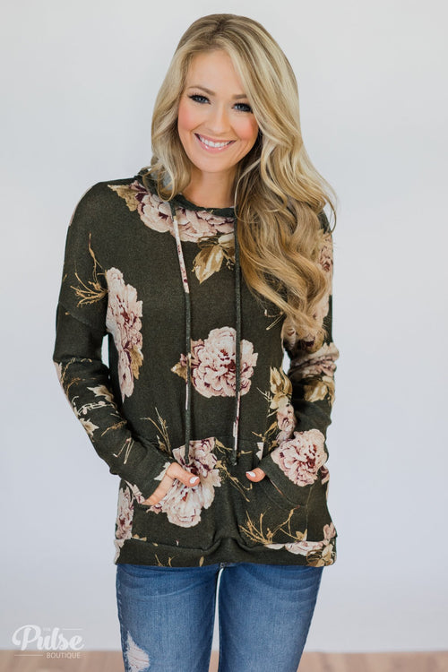 Back to the Garden Floral Hoodie- Olive