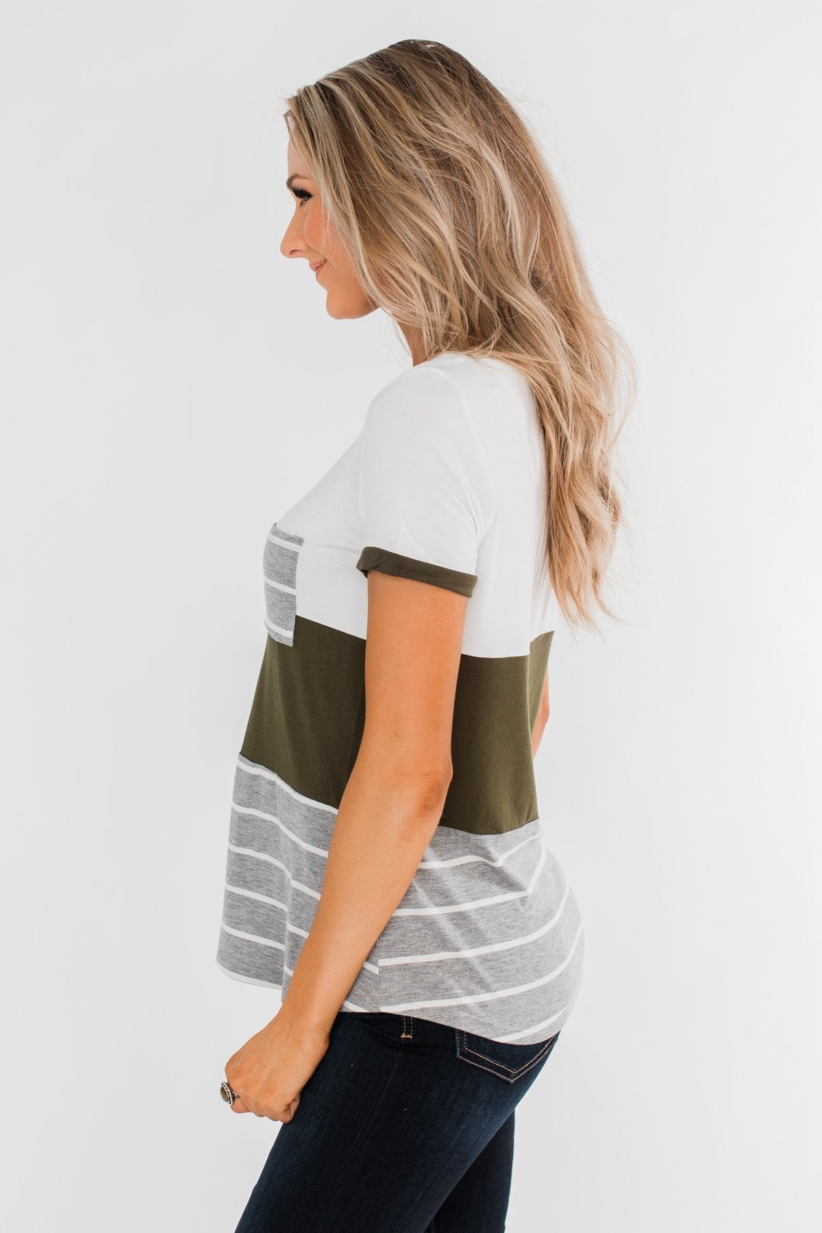 Right Here With Me Color Block Top- Ivory & Olive