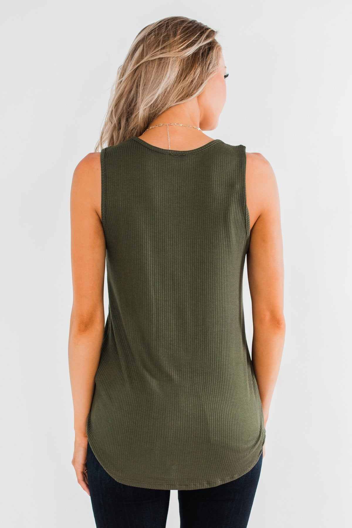 Just Say The Word 3 Button Tank Top- Dark Olive