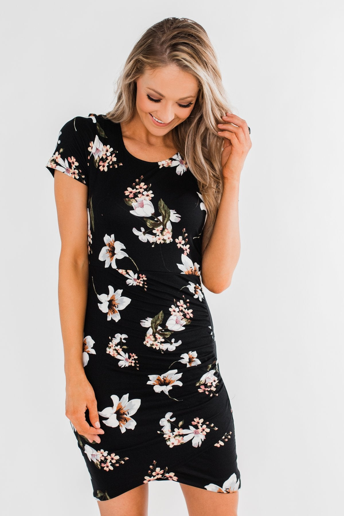 You're Beautiful Floral Dress- Black