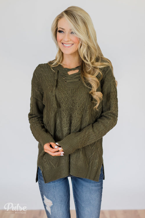 Stay Awhile Lace Up Hooded Sweater- Forest