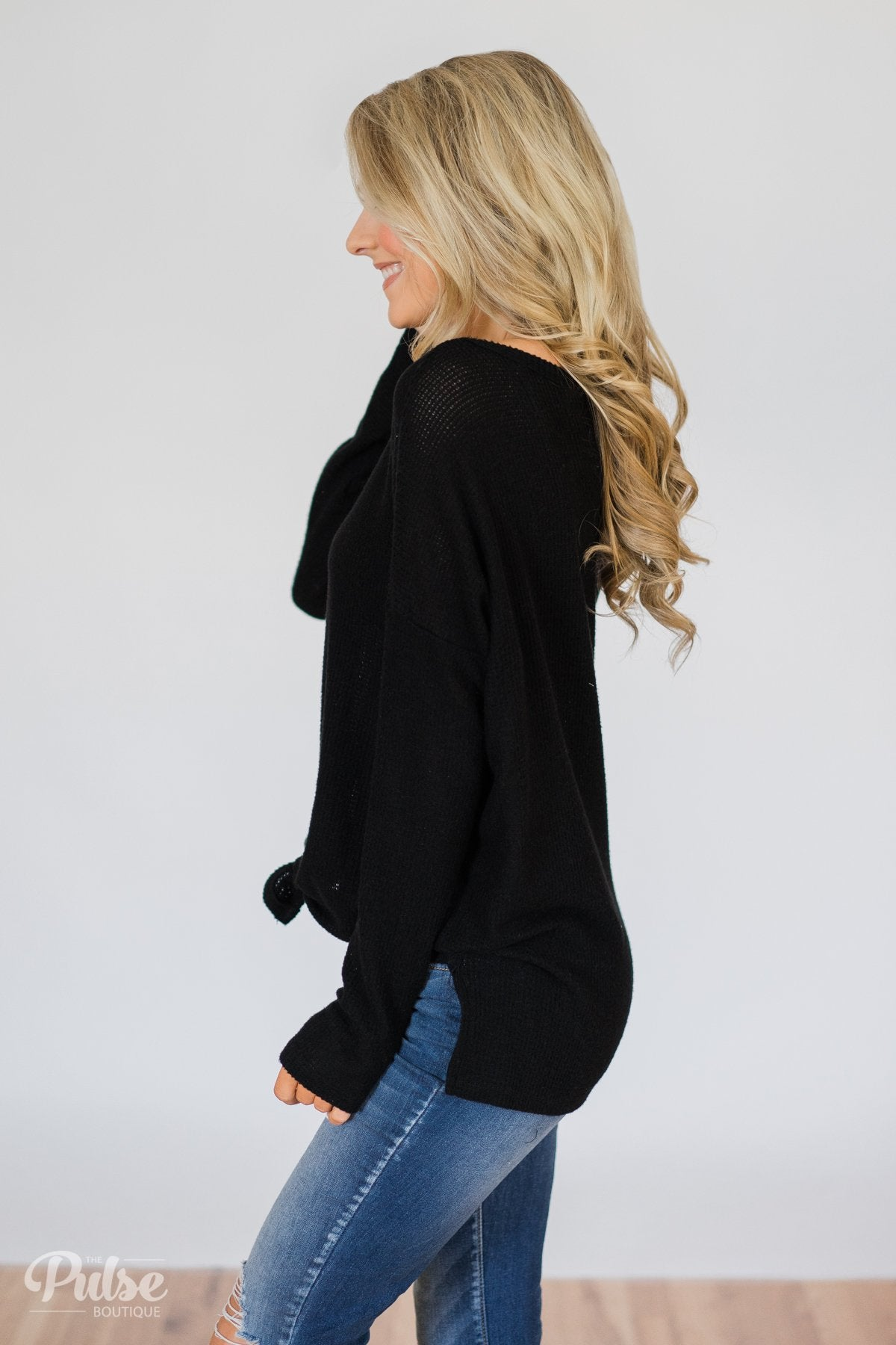 Back to You Thermal Button Top- Black