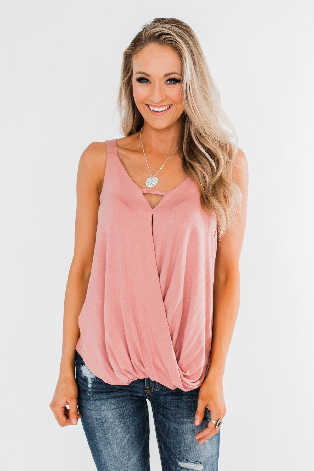 Wrapped Up In Sweetness Tank Top- Blush