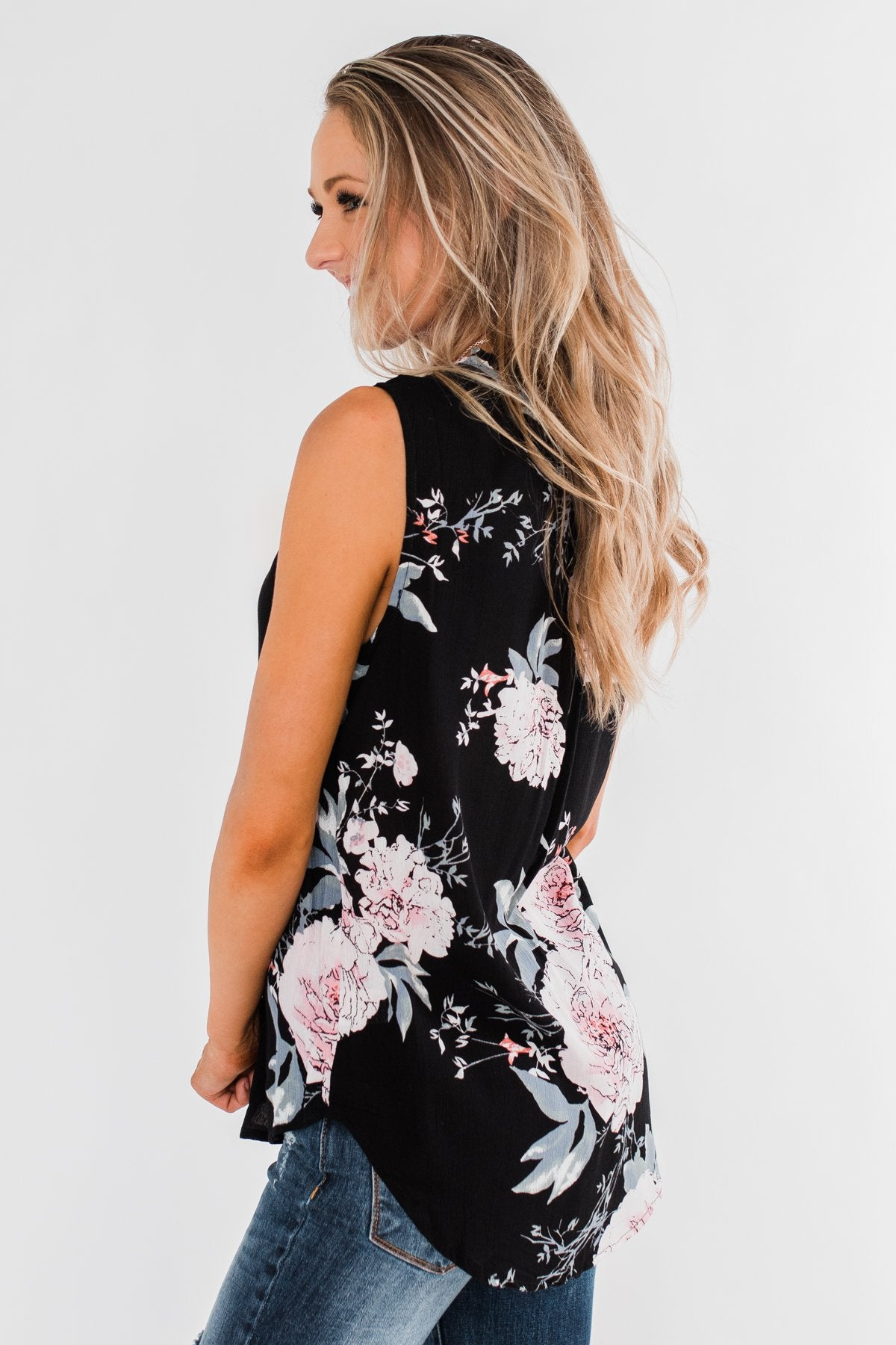 Sweet As Can Be Floral Tie Tank Top- Black