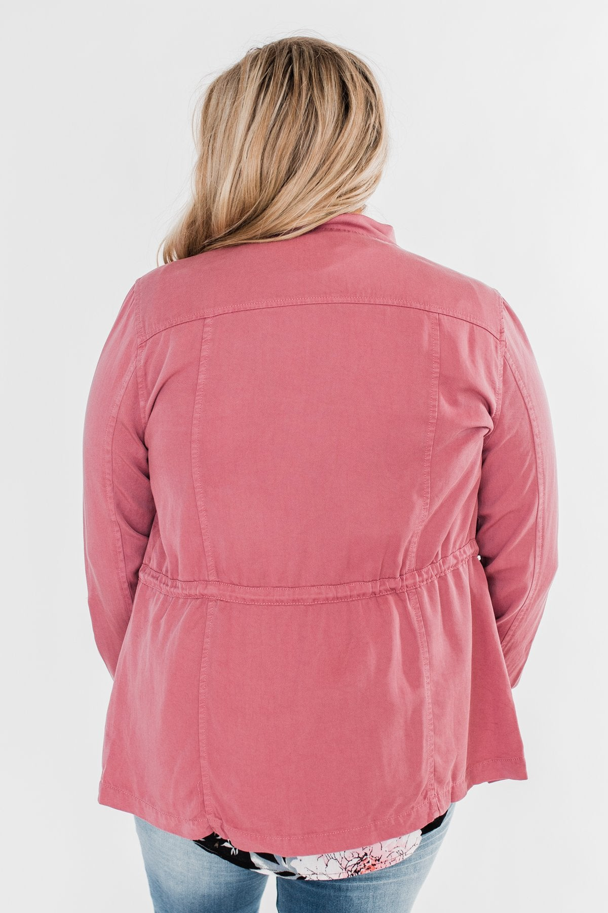 Carried Away Drawstring Waist Jacket- Mauve