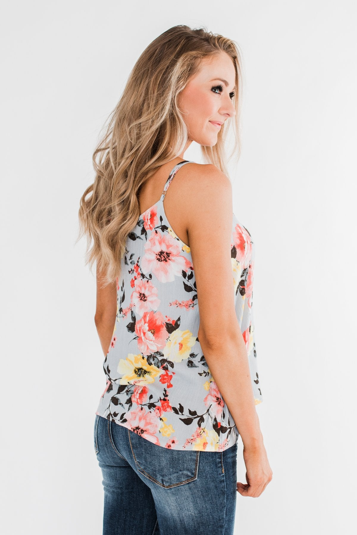 Always A Good Time Floral Tank Top- Periwinkle