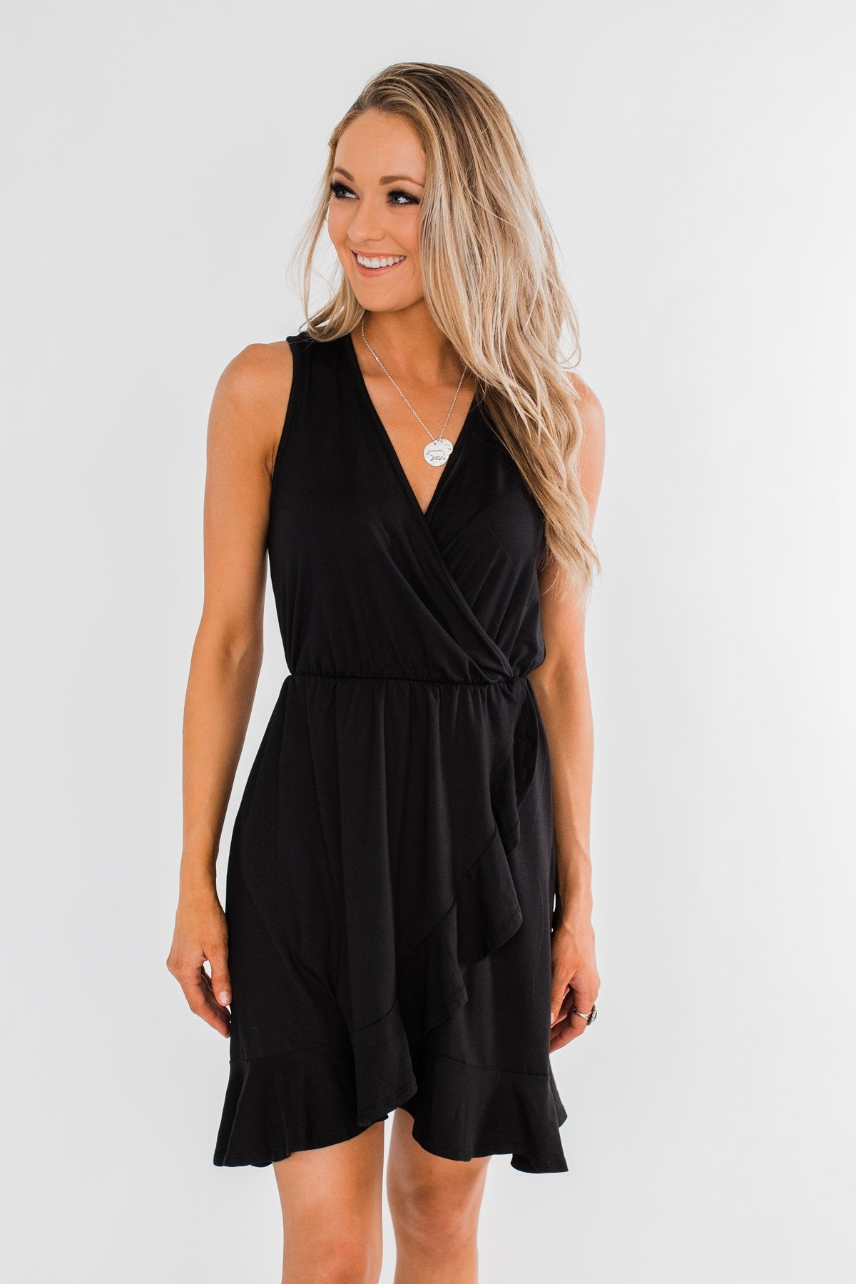 Every Spotlight Ruffle & Wrap Dress- Black