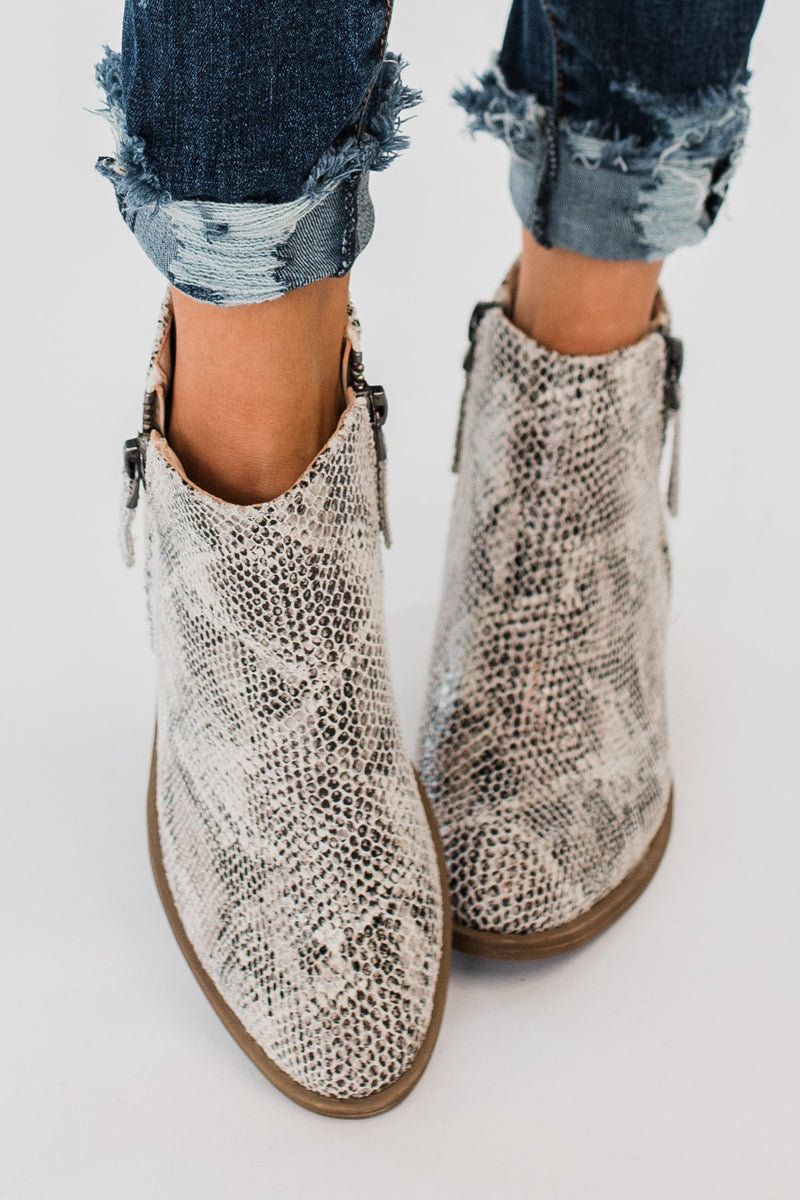 Very G Twinkle 2 Snake Print Booties White The Pulse