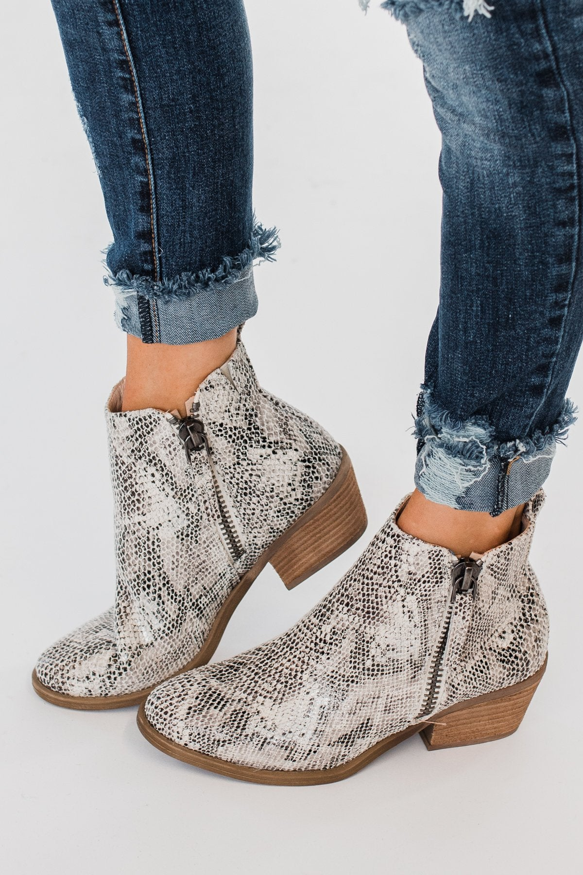 Very G Twinkle 2 Snake Print Booties- White