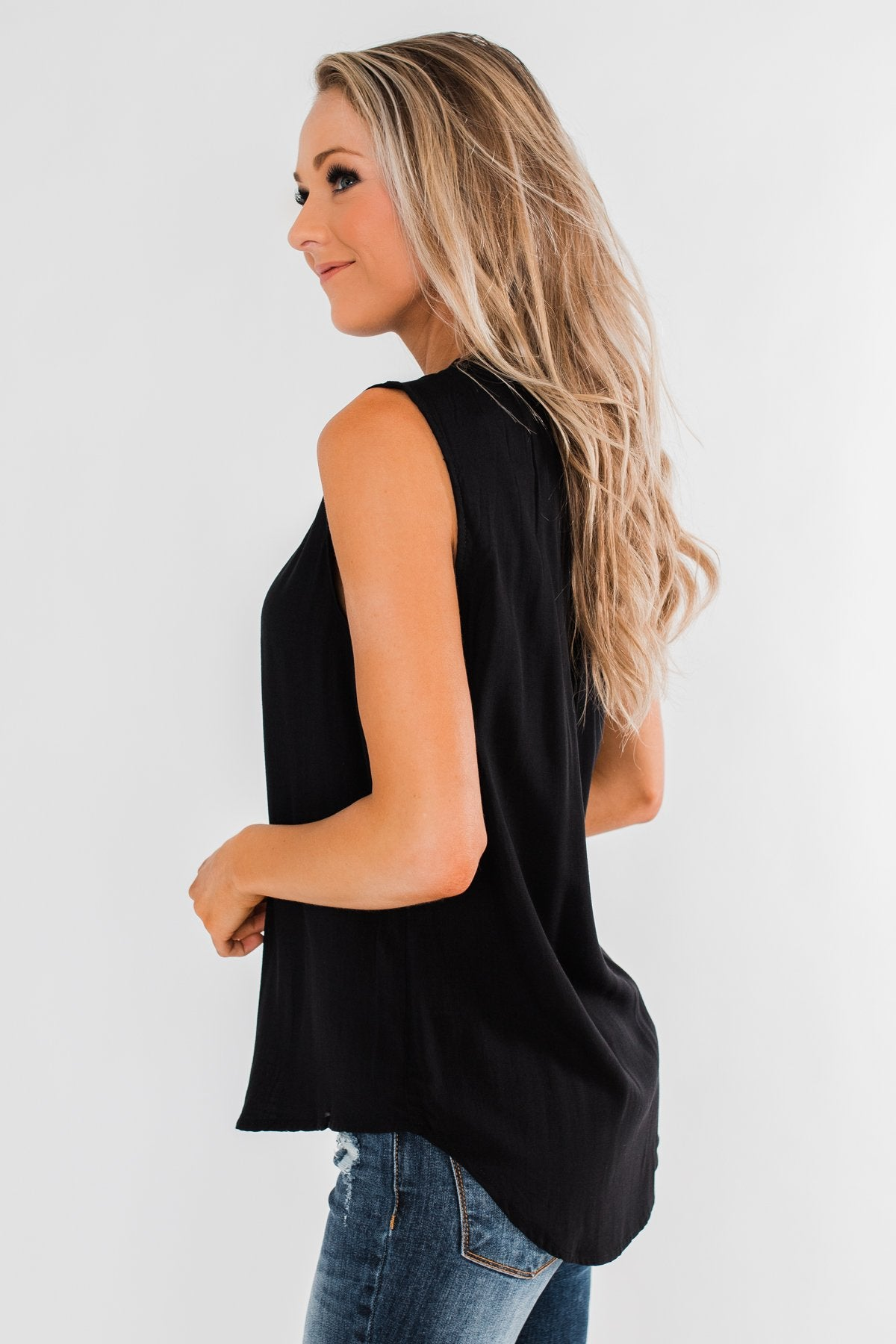 Larger Than Life Neck Tie Tank Top- Black