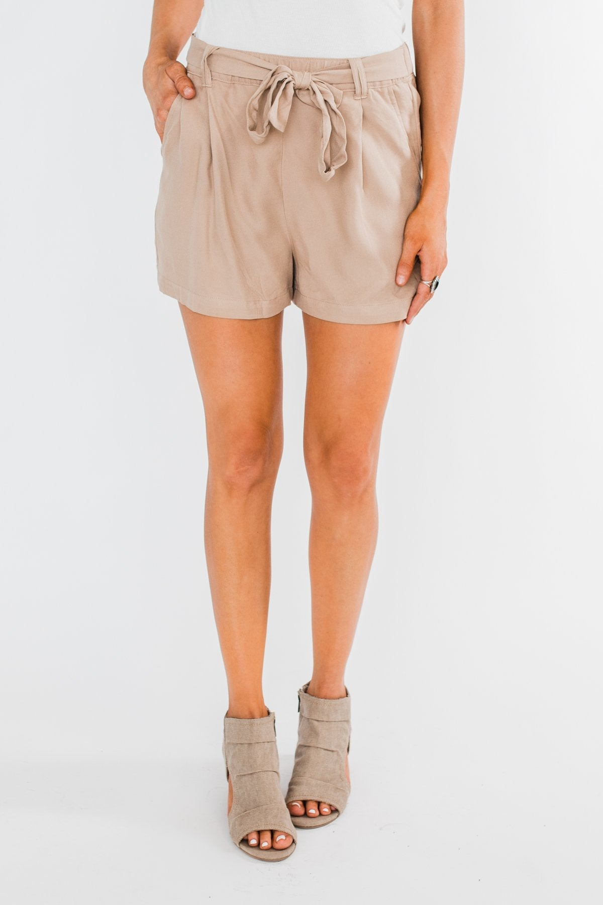 Elastic Waist Tie Shorts- Taupe