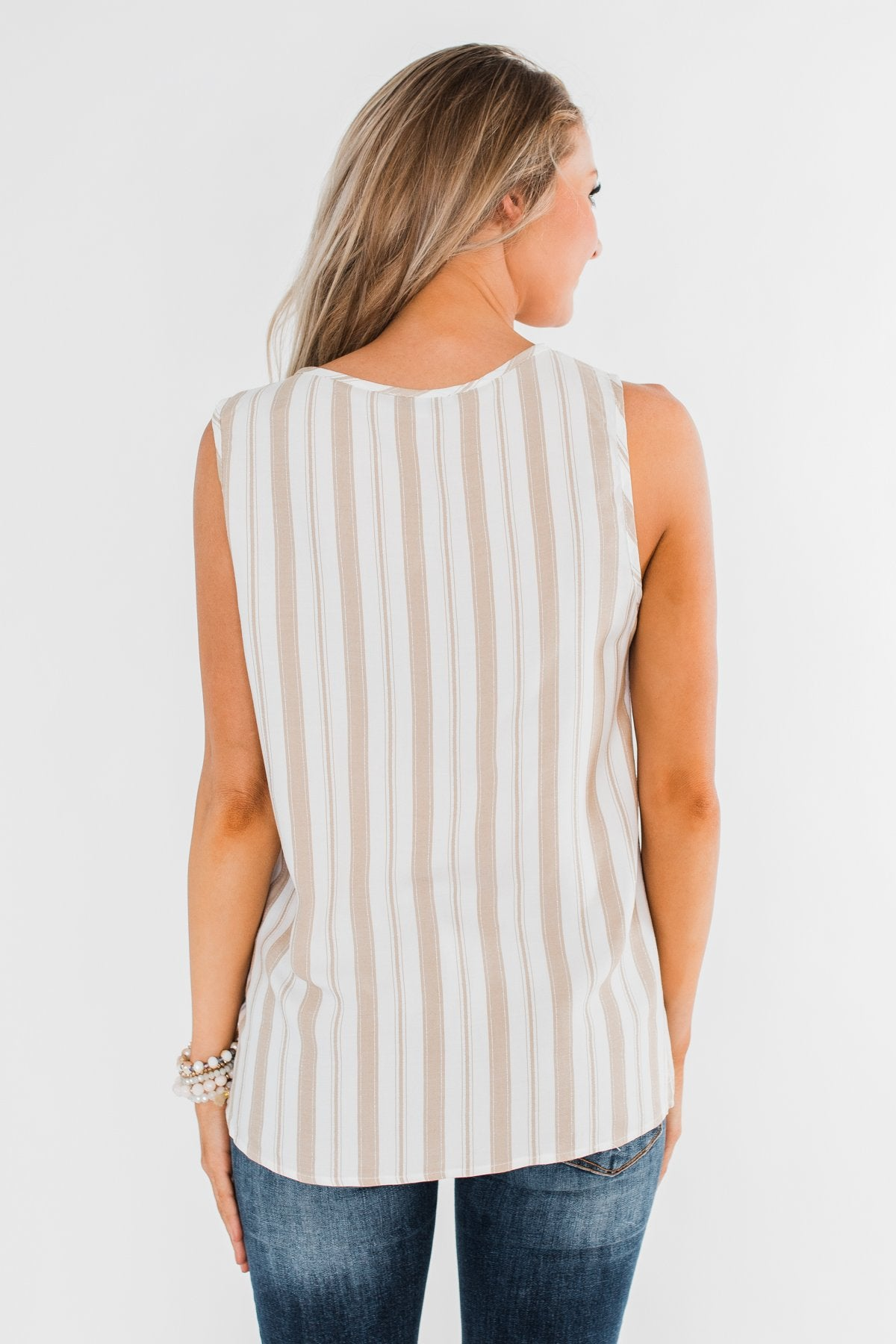 Twinkle In Your Eye Striped Tank Top- Beige