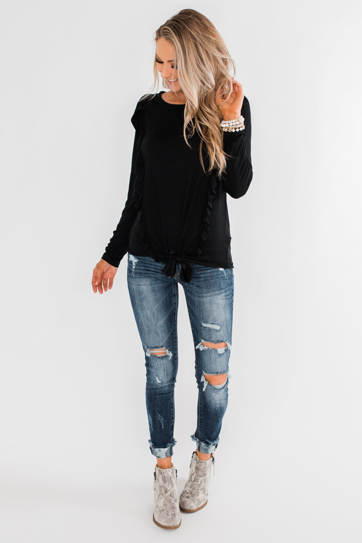 Taking My Time Long Sleeve Ruffle Top- Black