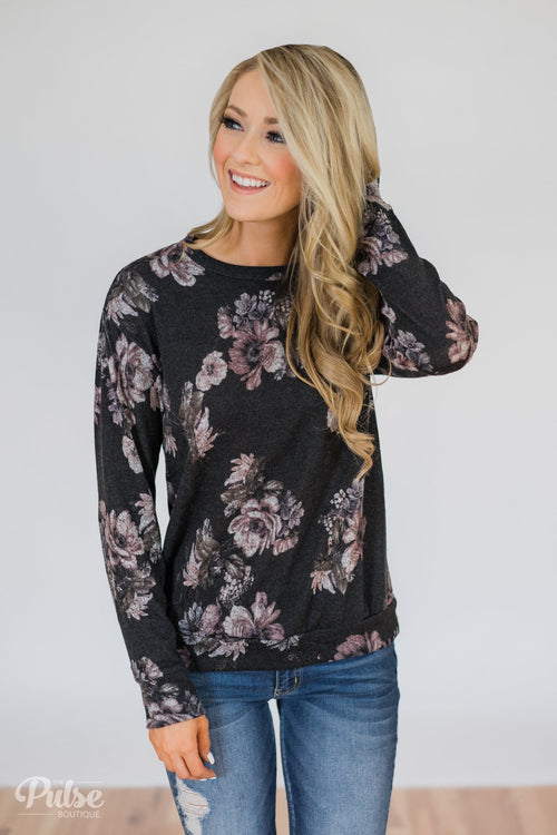 Bloom in the Dream Floral Pullover Top-  Black Charcoal