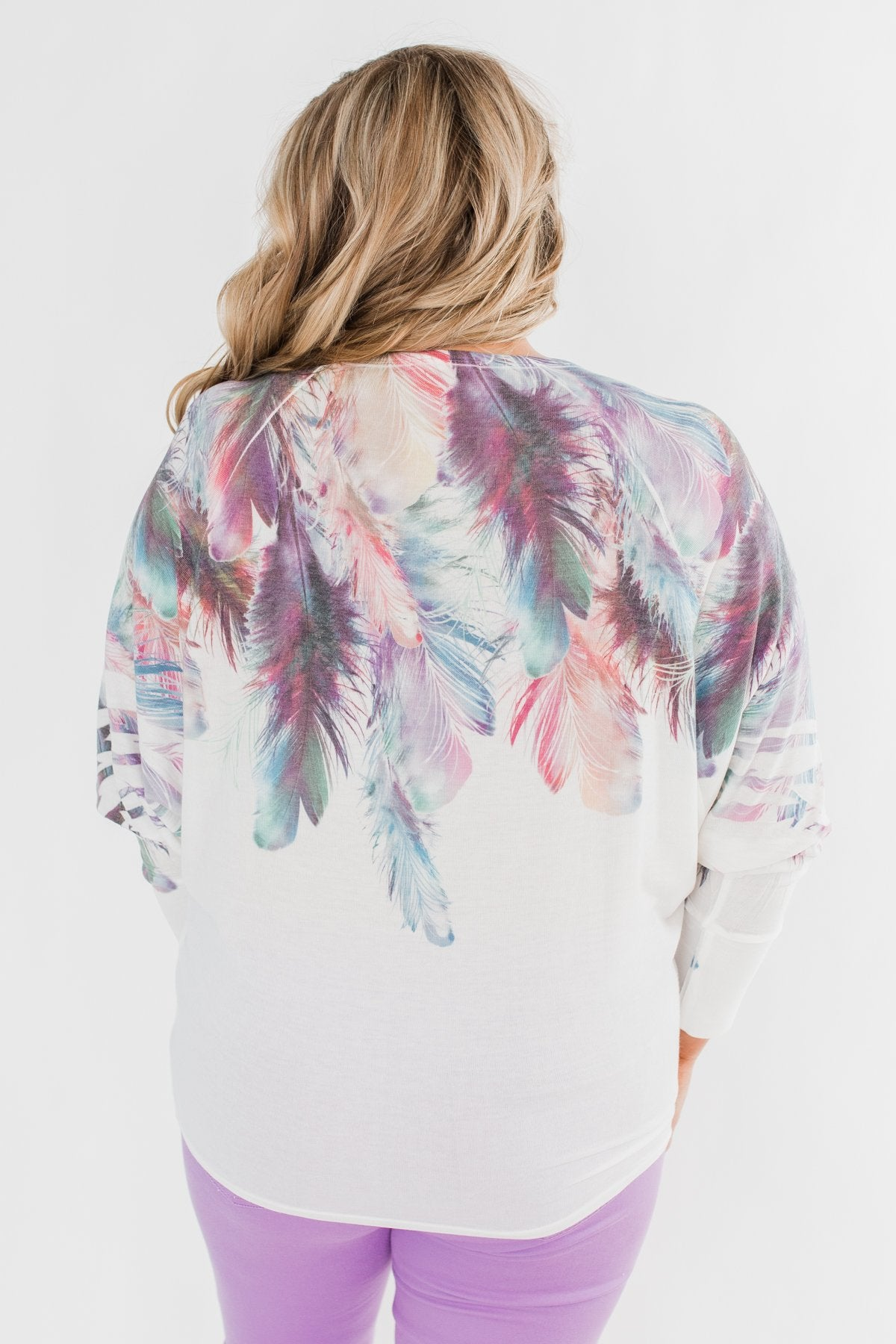 *2nds* Colorful Feather Dolman Sleeve Top- Ivory