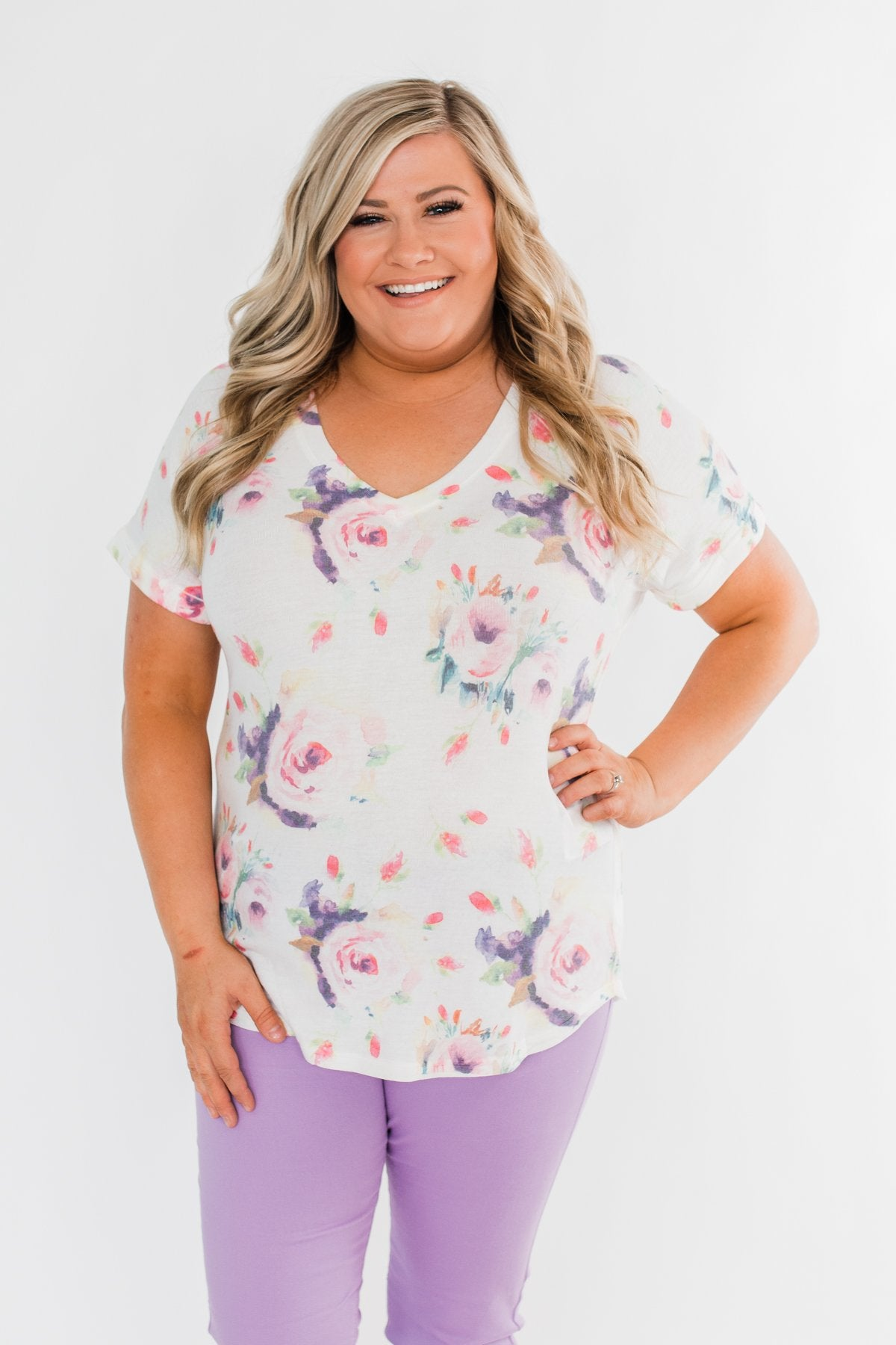 Make It Special Floral V-Neck Top- White
