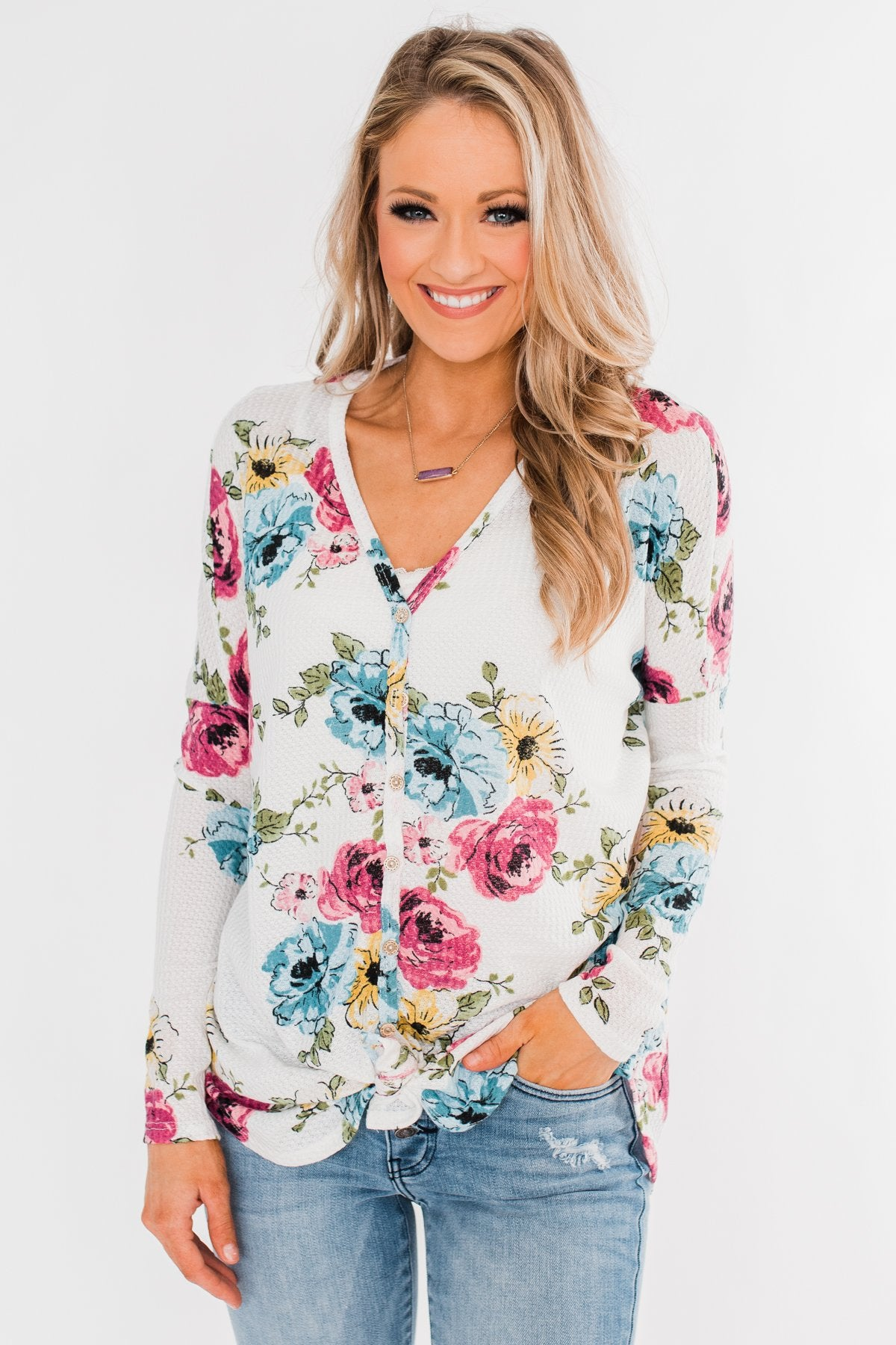 Good Life Floral Thermal Top- White