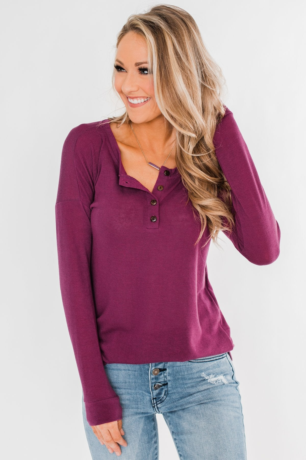 Cozy & Warm 4 Button Henley Top- Plum