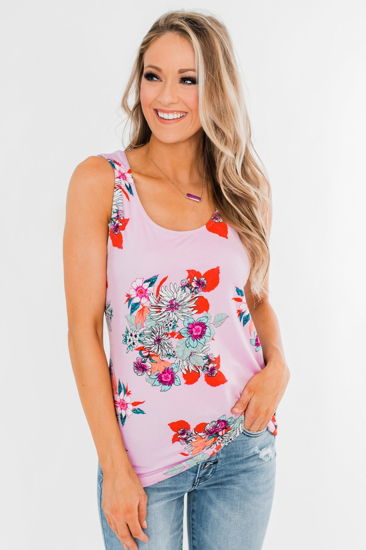 Waiting For You Floral Tank Top- Pink Lavender