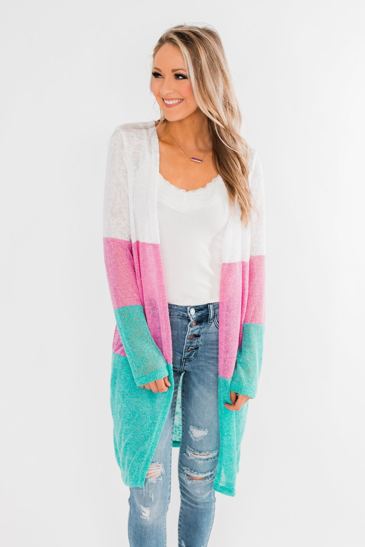 Long Knitted Color Block Cardigan- Teal & Orchid