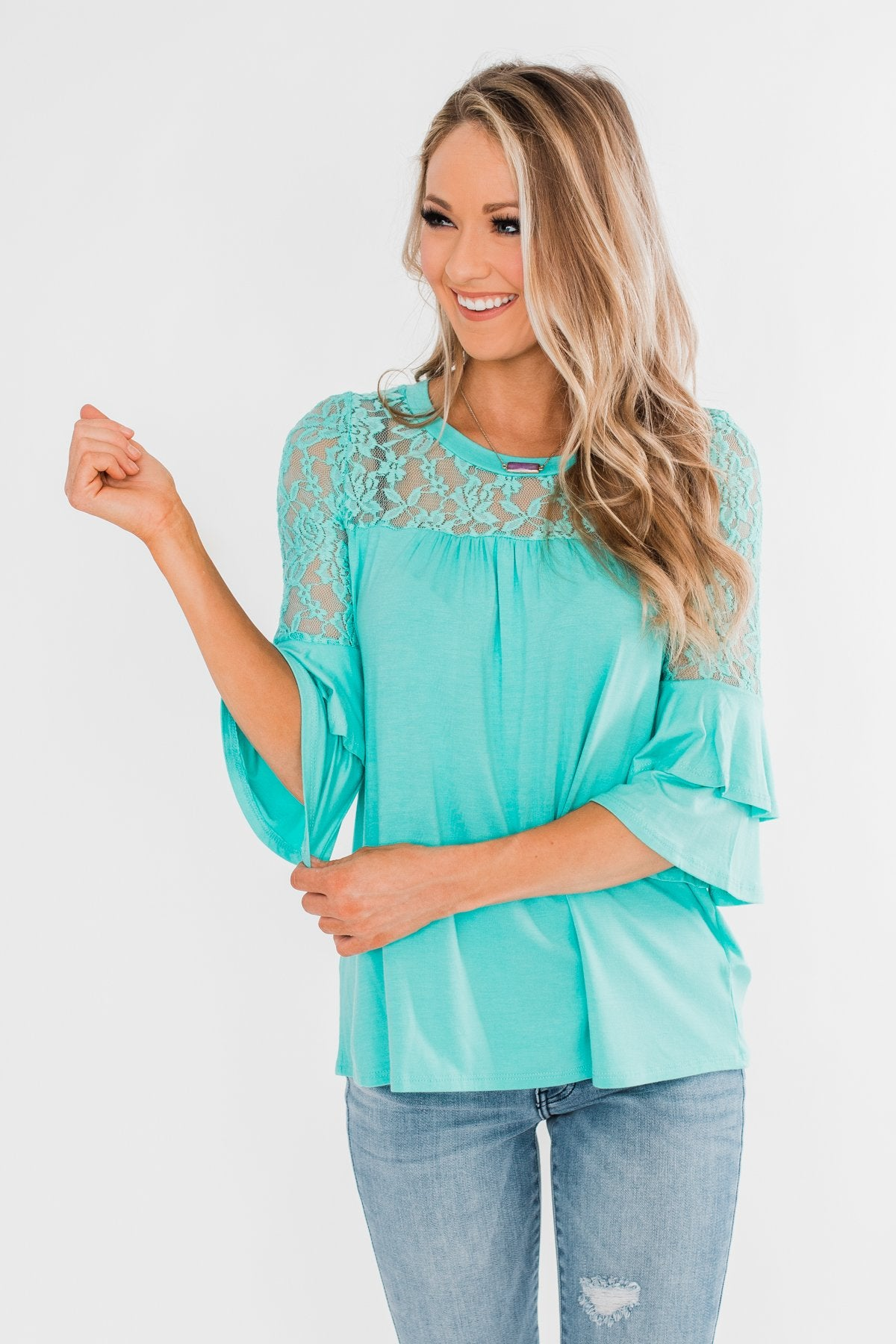 Right Beside Me Lace & Ruffles Top- Aqua